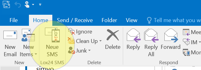 After Plugin Installation, a new button for dispatching SMS appears in Outlook.